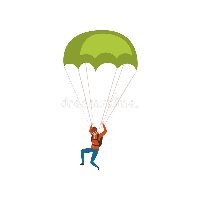 Skydiver descending with a parachute in the sky, parachuting sport and leisure activity concept vector Illustration on a. Skydiver descending with a parachute in vector illustration