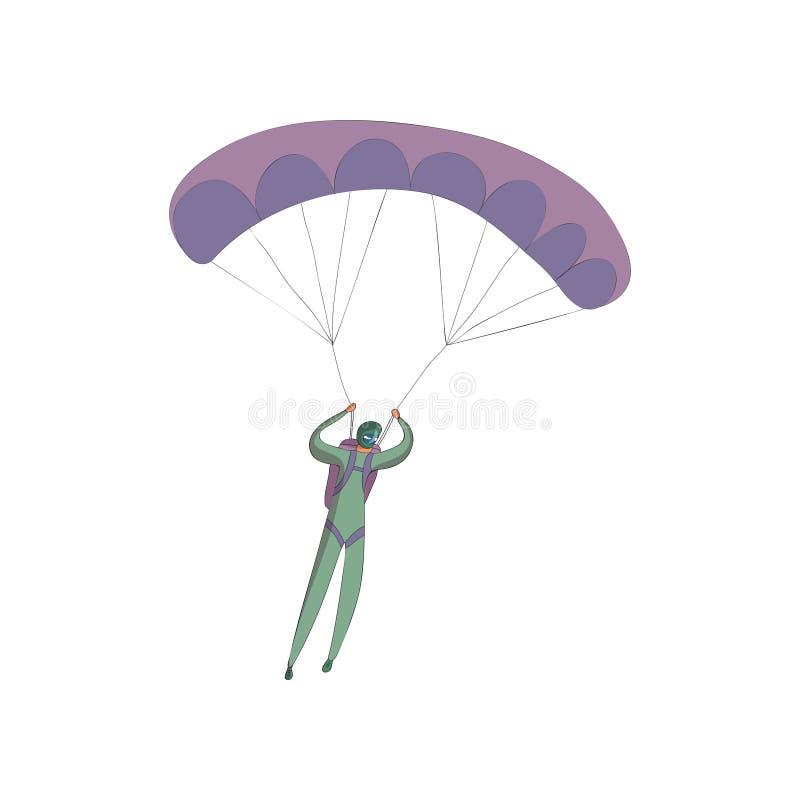 Skydiver in een groen kostuum stijgt op een open purper valscherm Vector illustratie op witte achtergrond stock illustratie