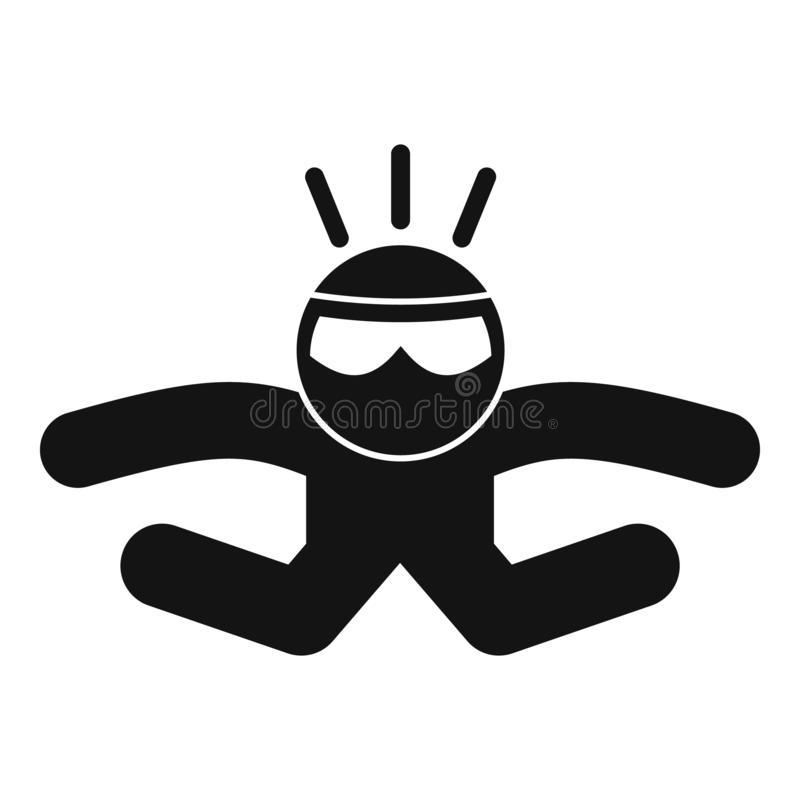 Skydiver fall icon, simple style vector illustration