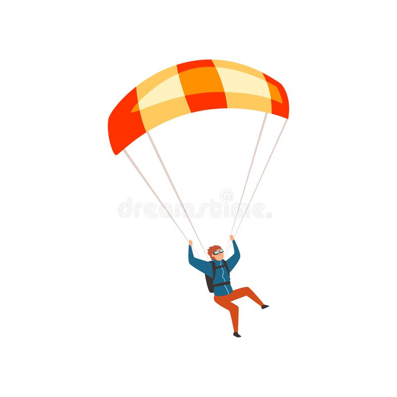 Skydiver flying with a parachute, parachuting sport and leisure activity concept vector Illustration on a white. Skydiver flying with a parachute, parachuting vector illustration
