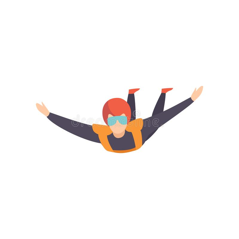 Skydiver flying in the sky, extreme sport, leisure activity concept vector Illustration on a white background. Skydiver flying in the sky, extreme sport, leisure vector illustration