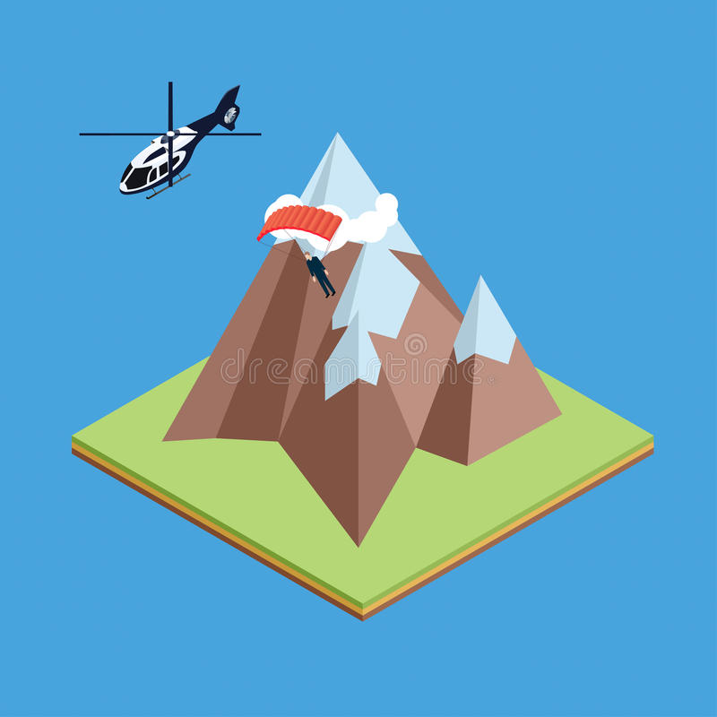 Skydiver jumped from helicopter. And gliding above mountains stock illustration