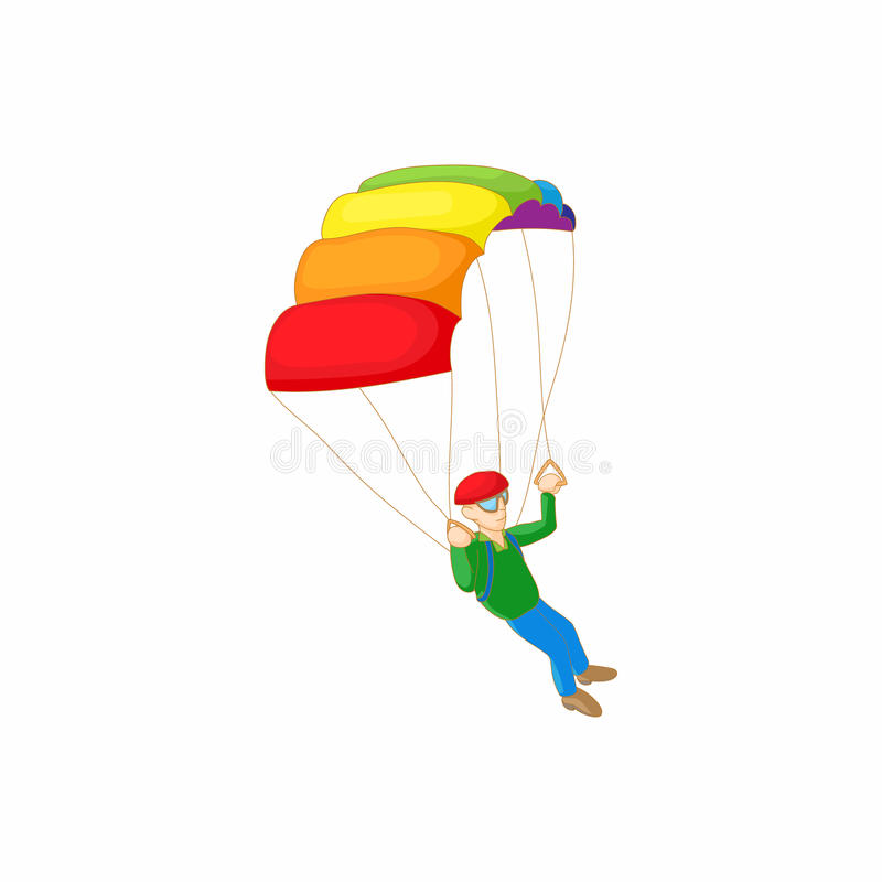 Skydiver met valscherm open pictogram, beeldverhaalstijl stock illustratie