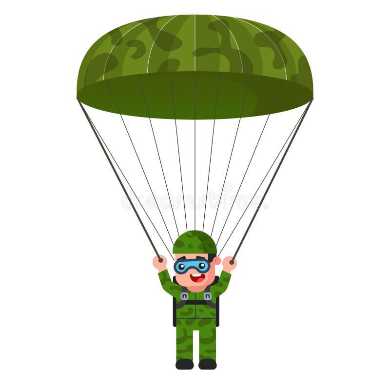 Skydiver no uniforme militar caqui p?ra-quedas ilustração royalty free