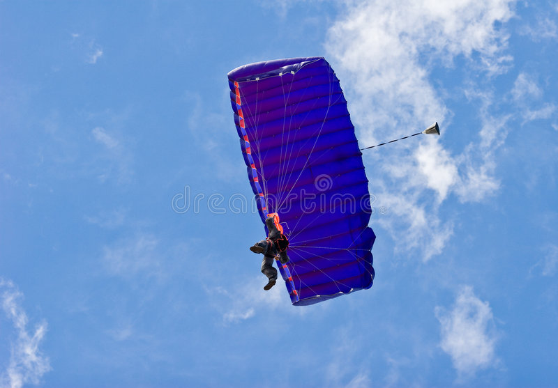 Skydiver with Parachute stock image