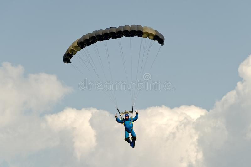 Skydiver on parachute royalty free stock photography