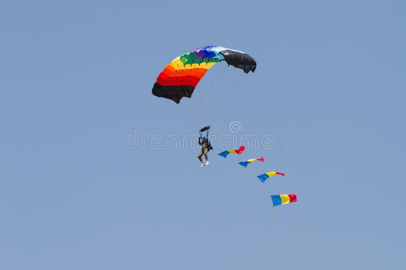 Download Skydiver With Romanian Flag Through Clouds Editorial Photo - Image: 25849571