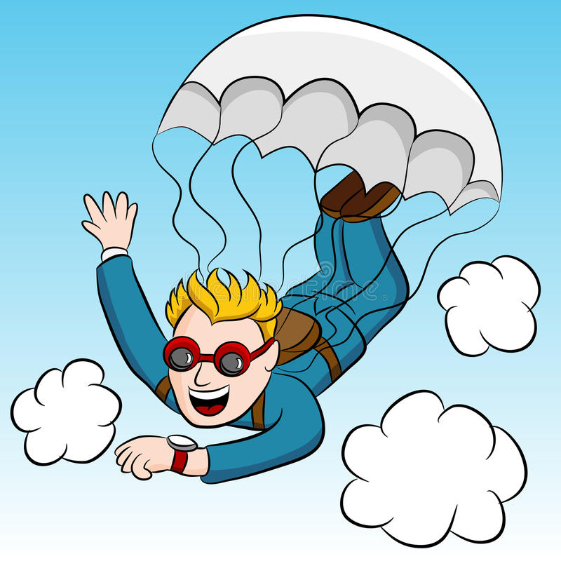 Skydiver urgente de la reunión stock de ilustración