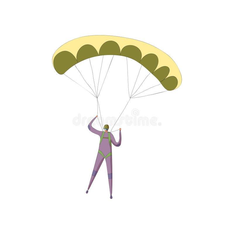 Skydiver w purpurowym kostiumu pochodzi na otwartym żółtym spadochronie t?a ilustracyjny rekinu wektoru biel royalty ilustracja