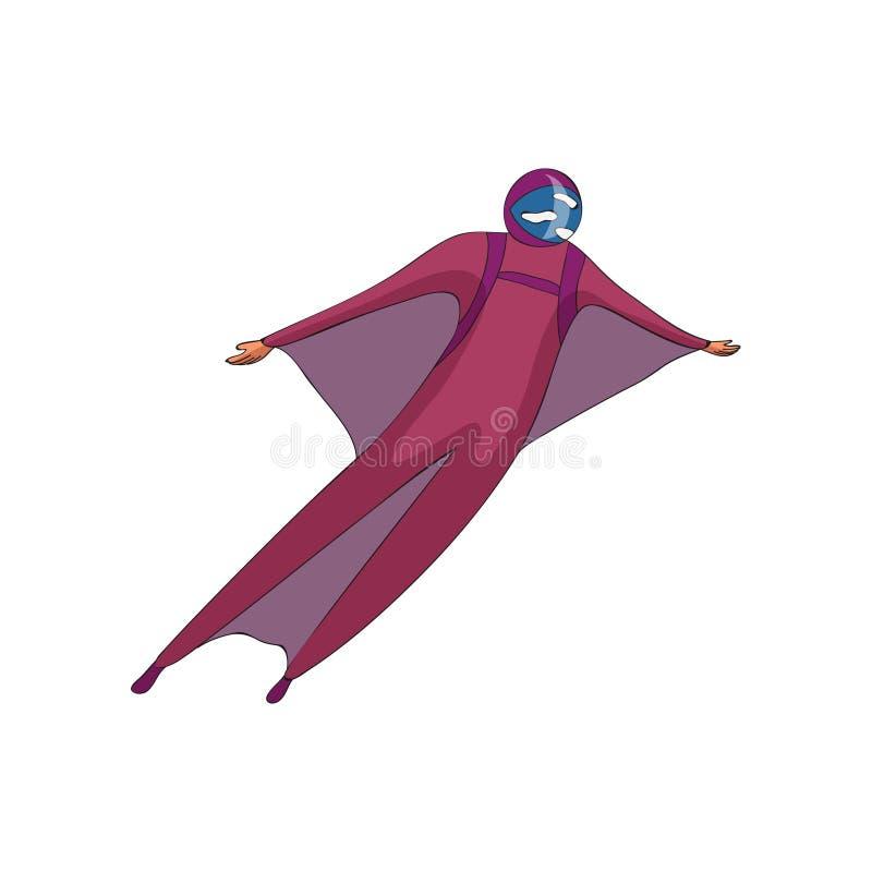 Skydiveren skjuta i höjden i en purpurfärgad hjälm och en dräkt med vingar white f?r vektor f?r bakgrundsillustrationhaj stock illustrationer