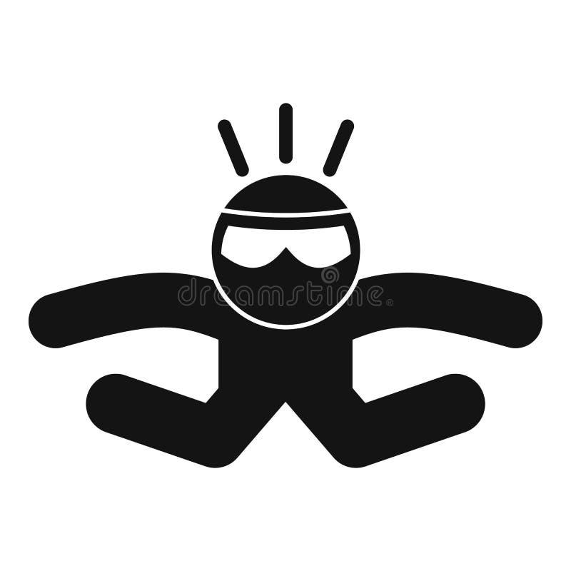 Skydivernedgångsymbol, enkel stil vektor illustrationer
