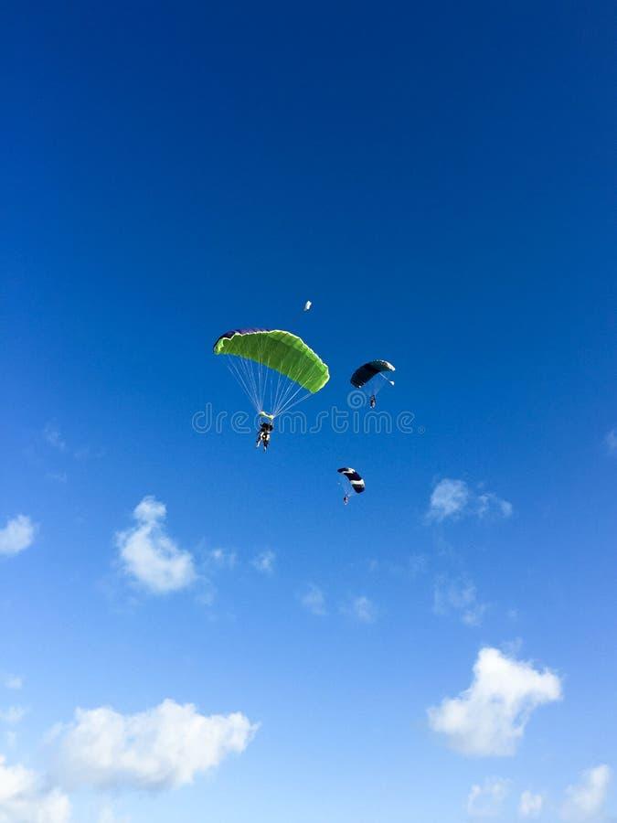 3 skydivers в небе, Кубе, Варадеро стоковое изображение