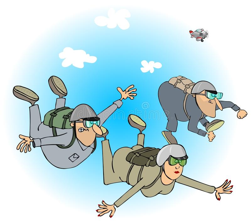 Skydivers vektor illustrationer