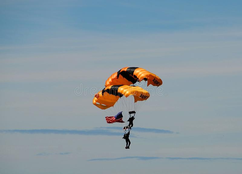 Skydivers With American Flag Stock Photos