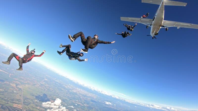 Skydivers die pret hebben stock afbeeldingen