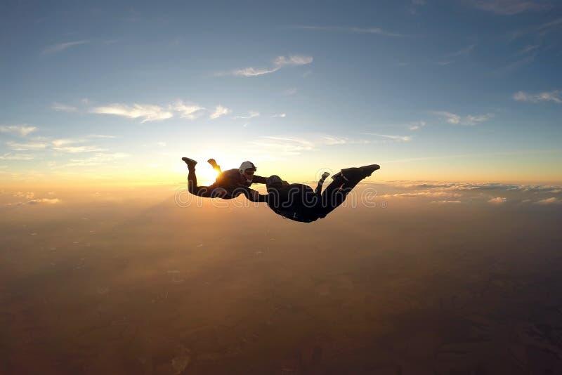 Skydivers, die Spaß bei dem Sonnenuntergang haben lizenzfreie stockfotografie