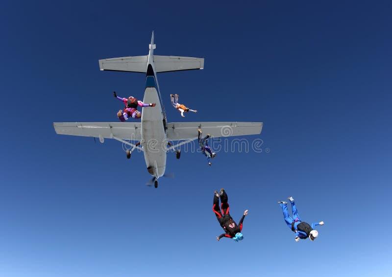Skydivers hoppar från nivån royaltyfri bild