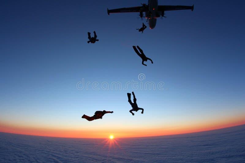 Skydivers hoppar ut ur en nivå royaltyfri foto