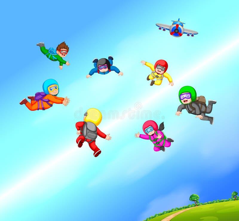Skydivers maakt vorming royalty-vrije illustratie