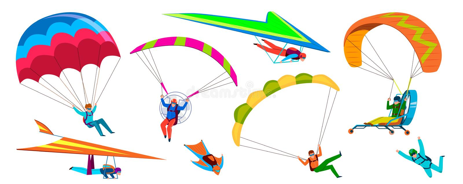 Skydivers. Skydiving adventure, people jump with parachute in sky, fly with paraglider and free flight. Cartoon vector vector illustration