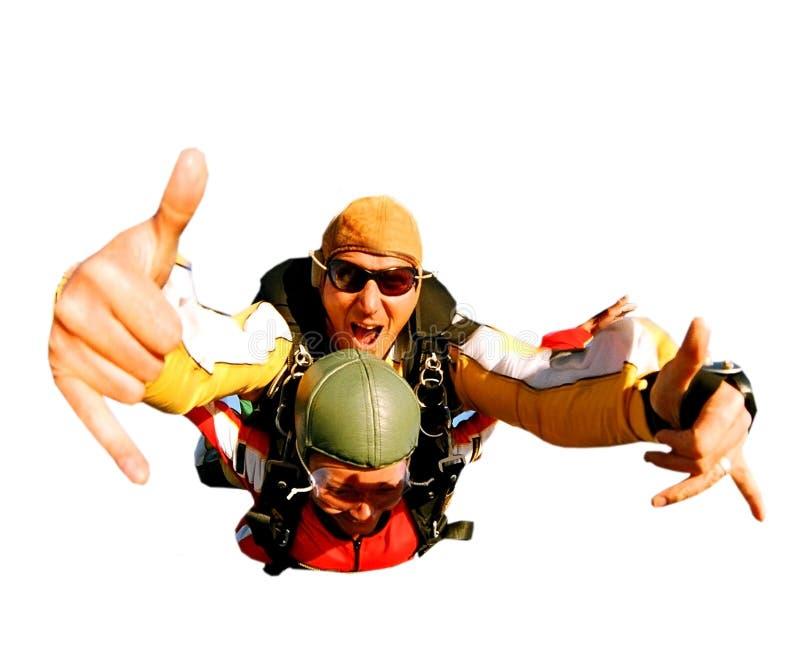 Skydivers in tandem nell'azione immagini stock