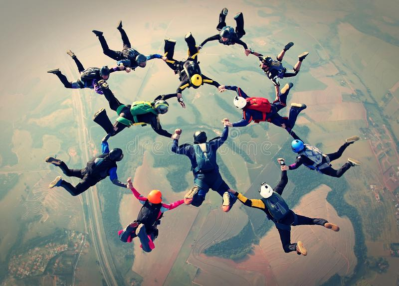 Skydivers team work photo effect royalty free illustration