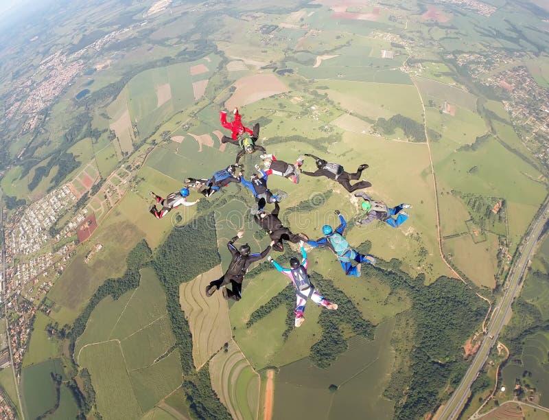 Skydiving小组形成 图库摄影