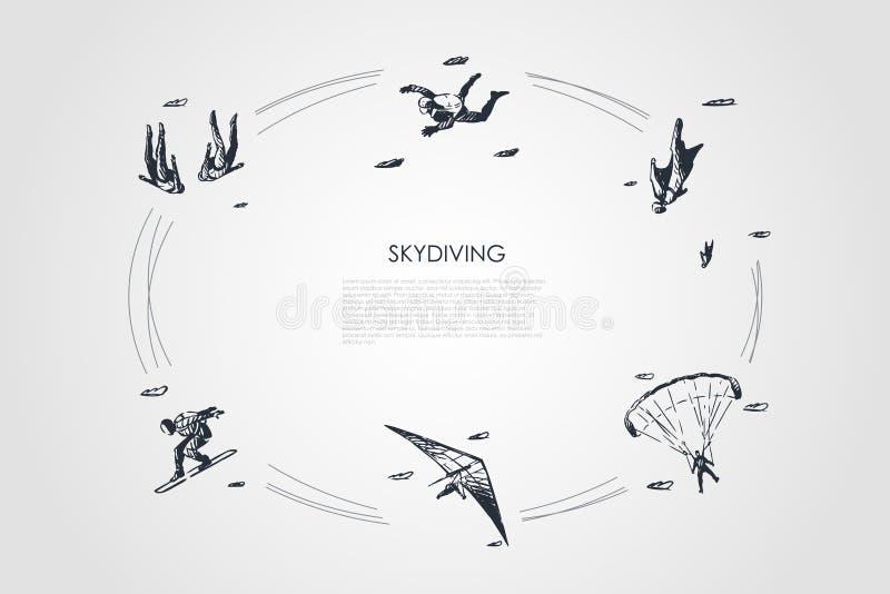 Skydiving - люди в воздухе скача с парашютом и skydiving набором концепции вектора иллюстрация вектора