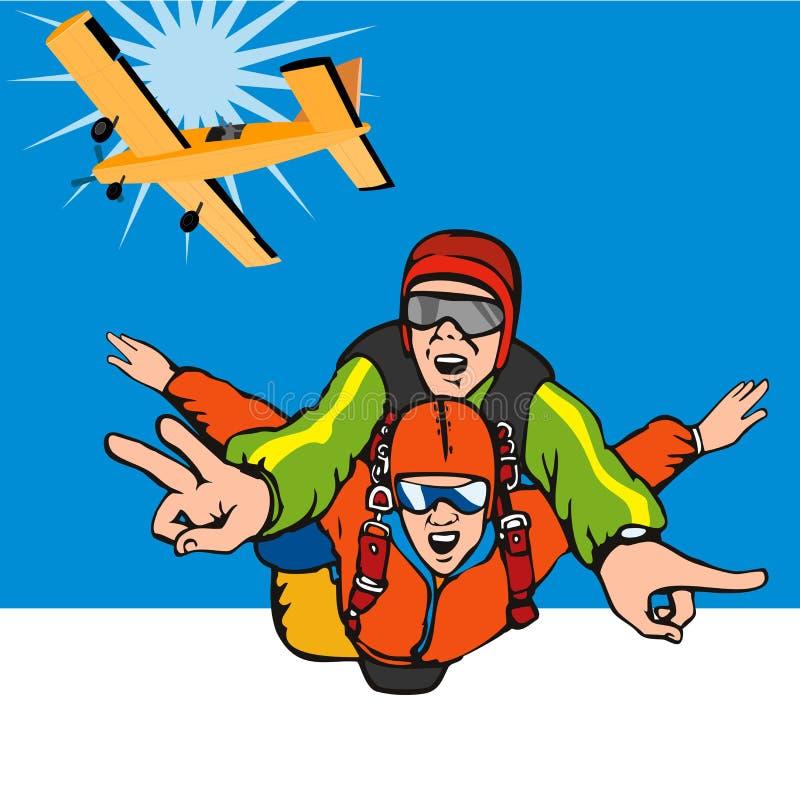 Skydiving achter elkaar stock illustratie