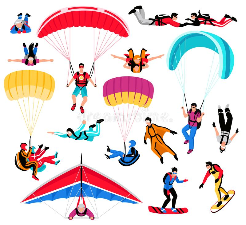 Skydiving Amd Extreme Sports Set. Flat isolated vector illustration stock illustration