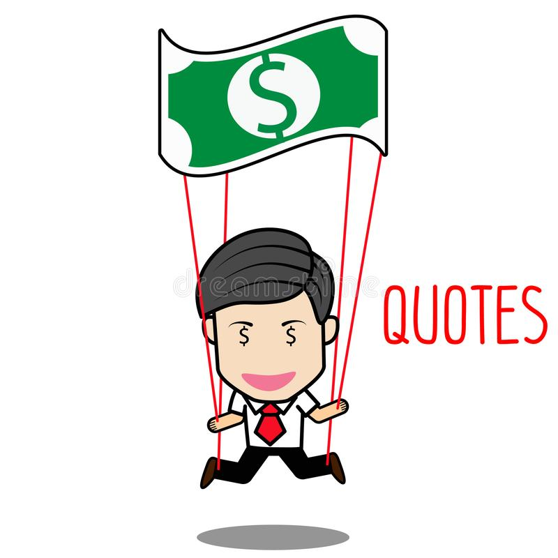 Skydiving businessman with parachute royalty free illustration