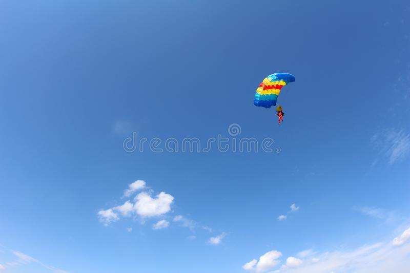 Skydiving. A canopy pilot is flying in the blue sky. stock images