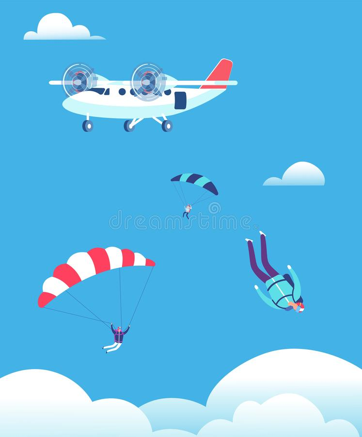 Skydiving concept. Parachutists jumping out of plane in blue sky. People skydivers vector illustration royalty free illustration