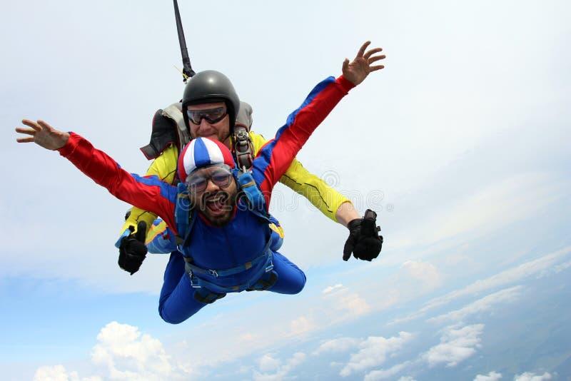 skydiving Das M?dchen mit dem Ausbilder im freien Fall Lehrer und indischer Passagier stockfotos