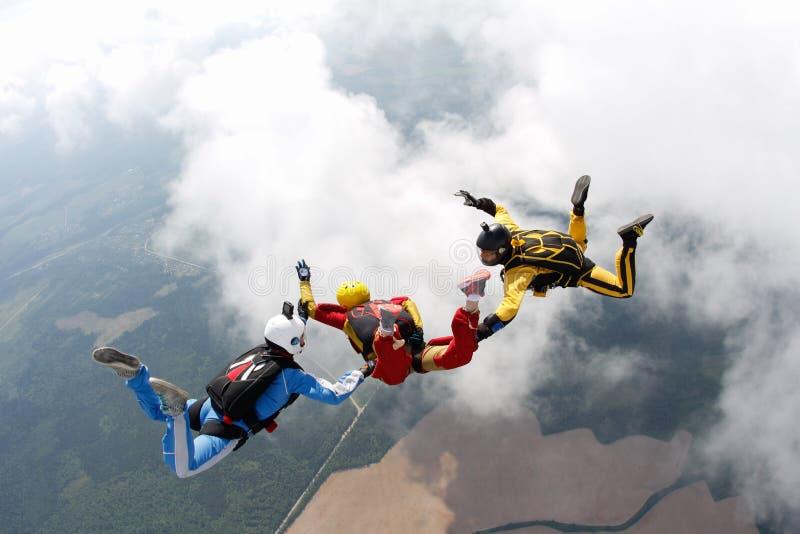 skydiving Deux instructeurs forment un étudiant pour voler image libre de droits
