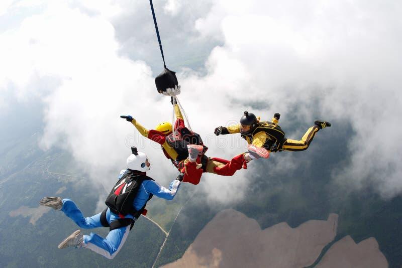 skydiving Dos instructores están entrenando a un estudiante para volar imagenes de archivo