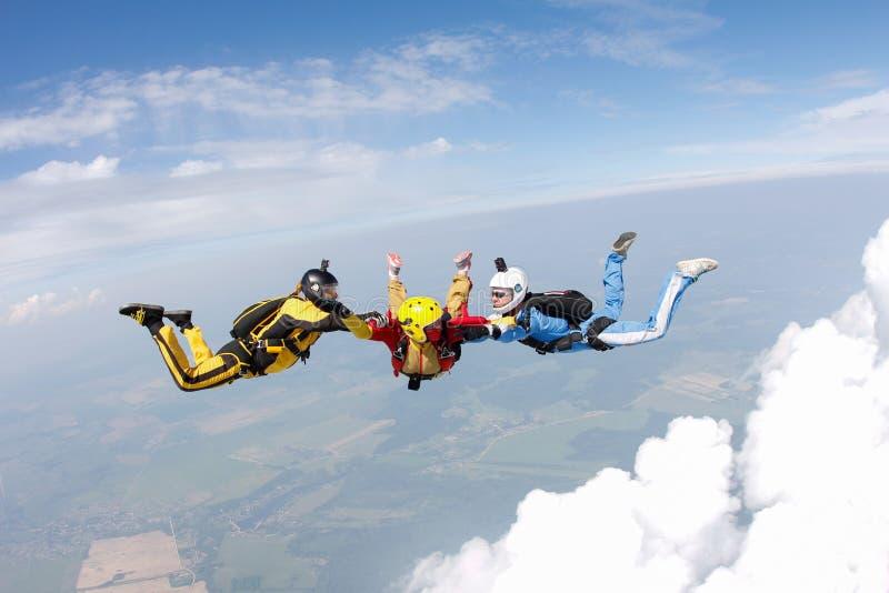 skydiving Dos instructores están entrenando a un estudiante para volar foto de archivo libre de regalías