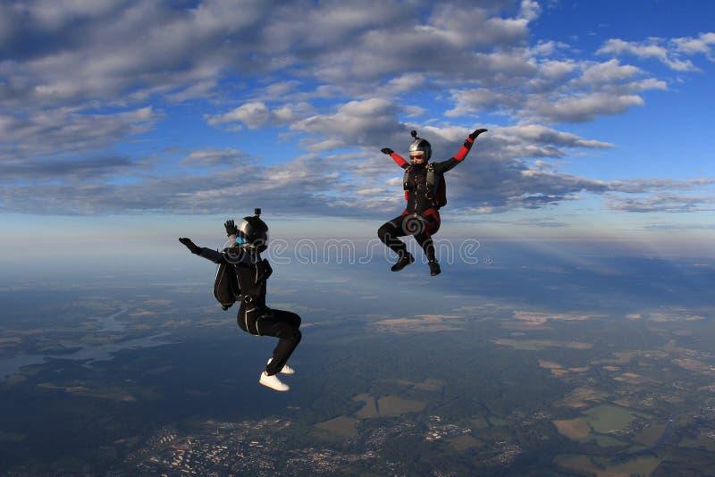 skydiving Dwa beatuful dziewczyny latają w niebie zdjęcia royalty free