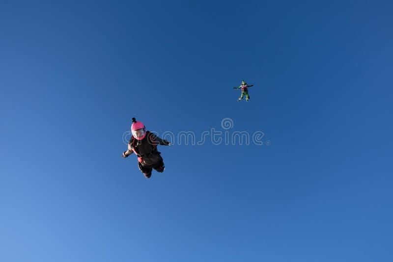 skydiving Dwa dziewczyny latają w niebieskim niebie obraz royalty free