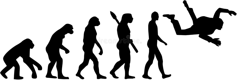 Skydiving ewolucja royalty ilustracja