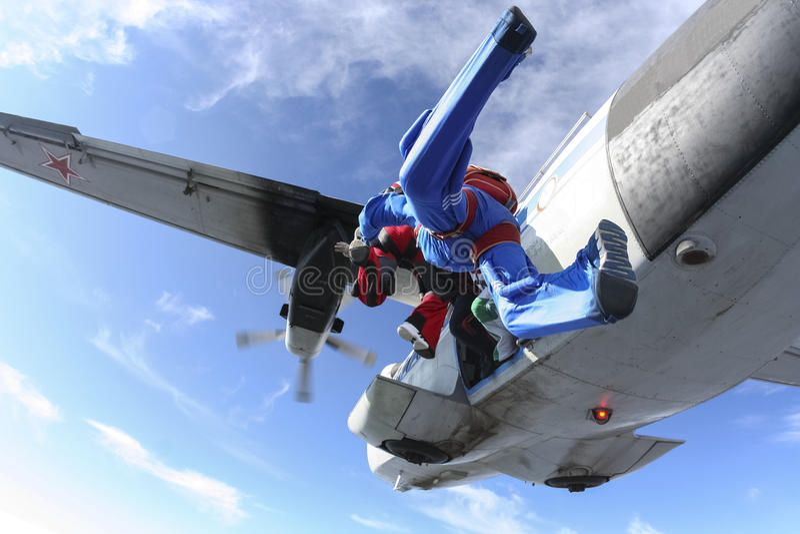 Skydiving foto. royaltyfria bilder