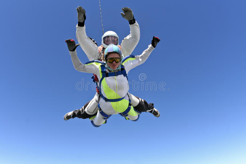 Skydiving Foto. Tandem. lizenzfreie stockfotografie