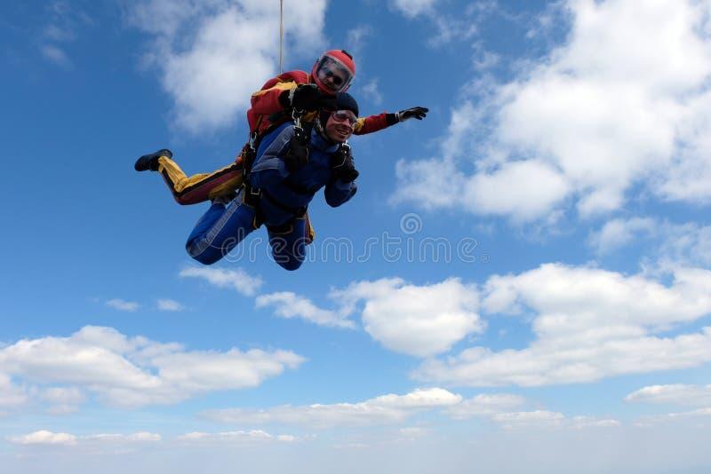 Skydiving het achter elkaar Twee sterke mensen zijn in de hemel stock foto