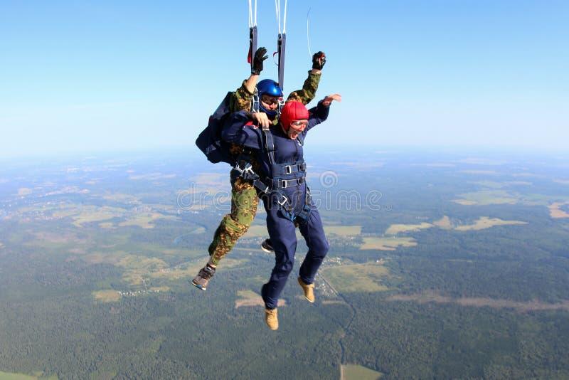 skydiving Het ogenblik van valschermplaatsing royalty-vrije stock foto's