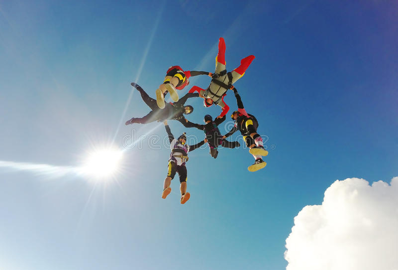 Skydiving Hybrid formation royalty free stock photos