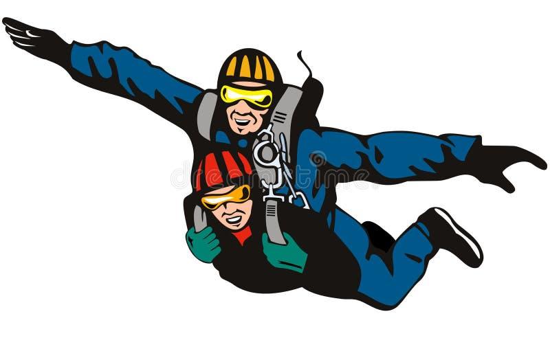 Skydiving l'en tandem illustration libre de droits