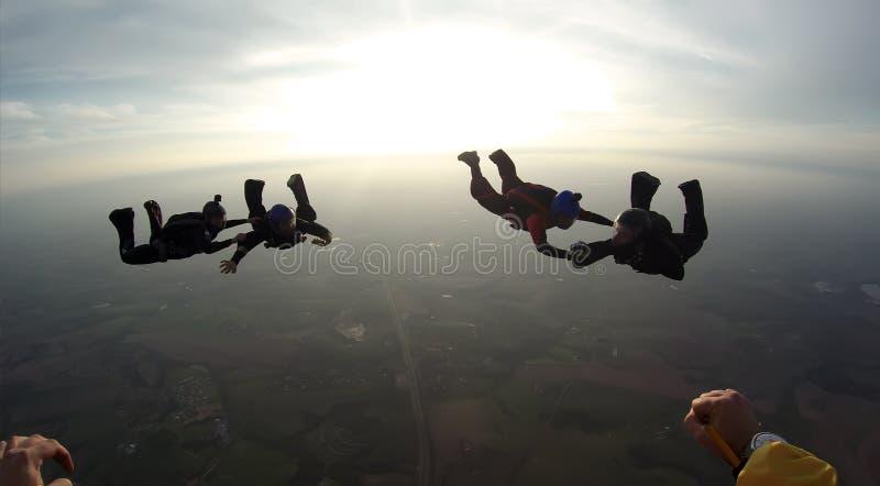 Skydiving 4 manierteam royalty-vrije stock afbeelding