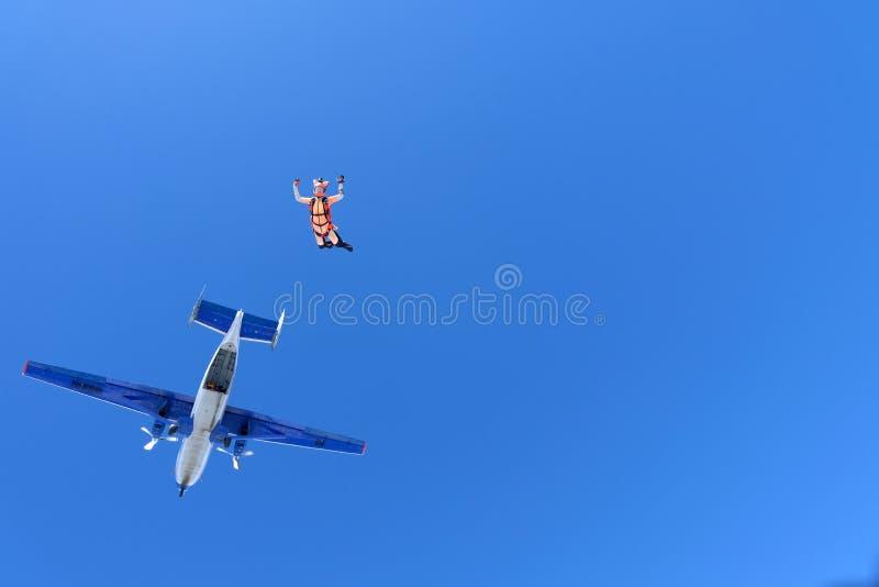 skydiving A menina vestida como uma raposa voa no c?u imagens de stock royalty free