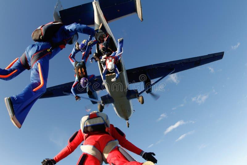 skydiving Några skydivers hoppar ut ur en stor nivå fotografering för bildbyråer