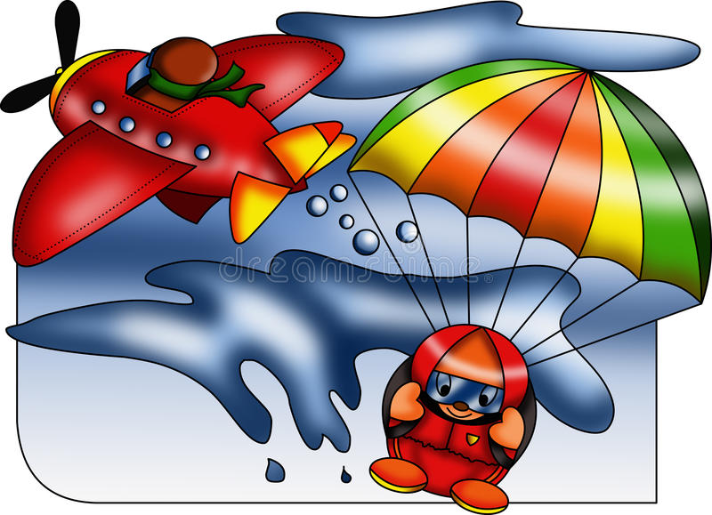 Skydiving that passion. Color illustration showing a passion for an extreme sport but unique charm